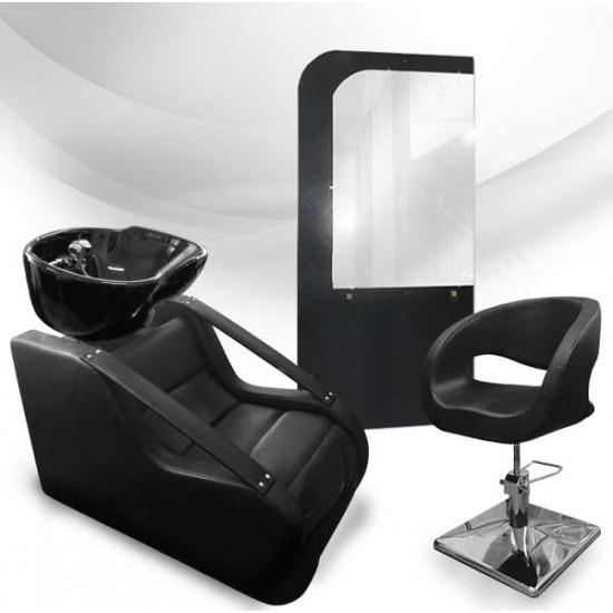 Фризьорски комплект - измивна колона, фризьорски стол и огледало