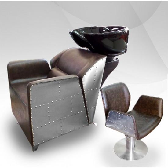 Измивна колона + фризьорски стол - Фризьорски комплект 2 в 1