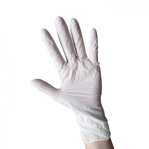 Бели еднократни ръкавици от латекс с пудра, 100 броя