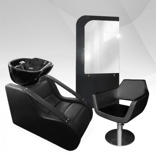 Фризьорски комплект Blackout - измивна колона, фризьорски стол и огледало
