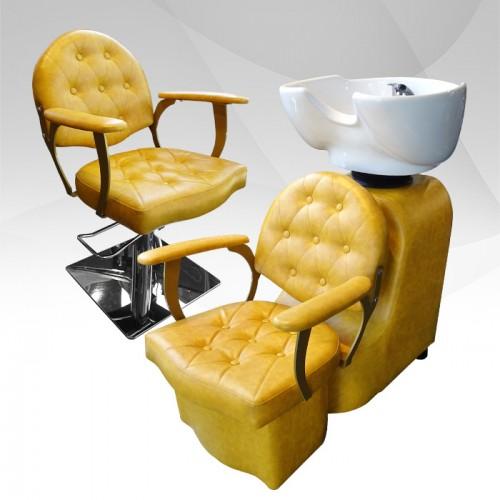 Луксозен жълт фризьорски стол модел А306