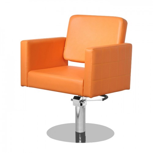 Качествен и модерен фризьорски стол в стилен оранжев цвят модел M970