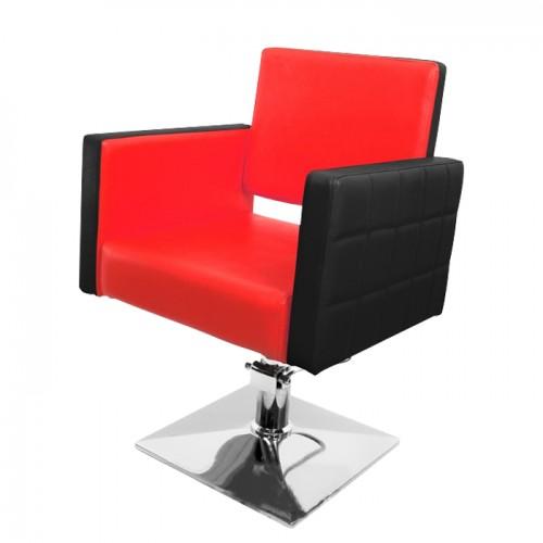Луксозен фризьорски стол със стилна черно-червена тапицерия модел PA08F0BR