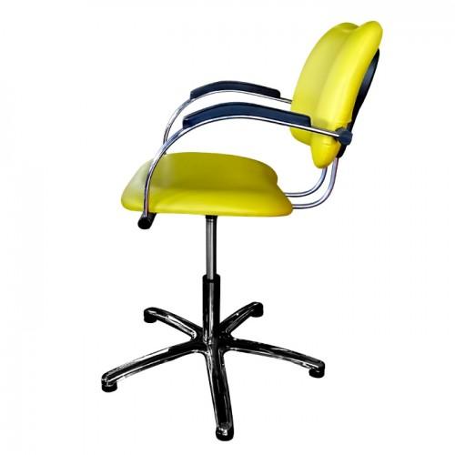 Професионален фризьорски стол модел 332 в стилен жълт цвят