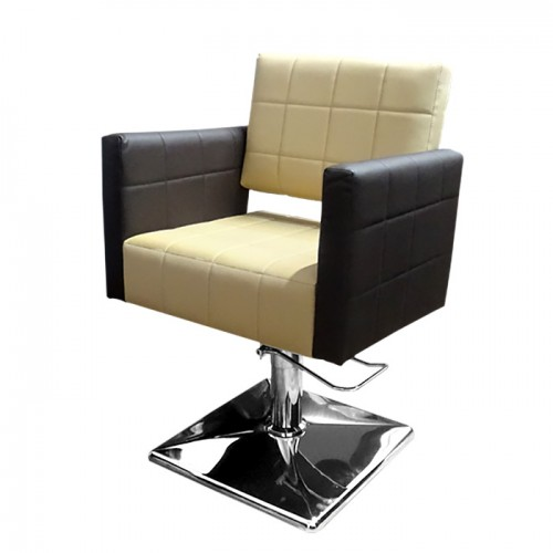 Фризьорски стол със стилна визия - Модел M401, Бежово-Тъмнокафяво