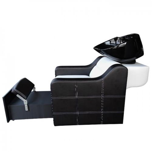 Измивна колона със стойка за педикюр - Модел 810 плюс, черно-бял
