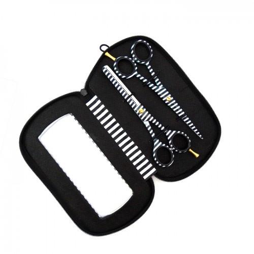 Фризьорски ножици за филиране и подстригване в черно и бяло