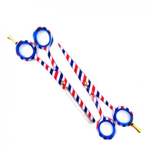 Професионални фризьорски ножици в комплект Blue and Red