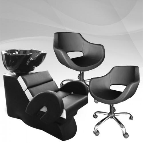 Комплект фризьорско обзавеждане Cardinal с два стола + измивна колона