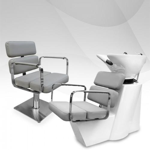 Комплект от измивна колона и фризьорски стол Grey