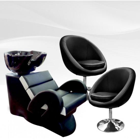 Комплект фризьорско обзавеждане с два стола + измивна колона